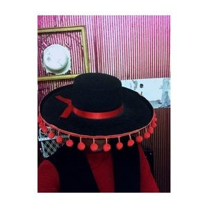 Wide Brim Black Hat with Red Ribbon and Pom Poms